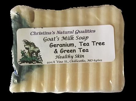 CNQ Goat's Milk Soap- Geranium, Green Tea,& Tea Tree