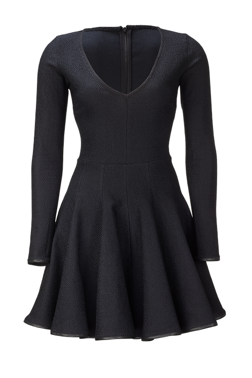STRUCTURED DRESS WITH V-NECK AND BLACK LEATHER PIPING