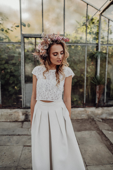 "LACE CROP TOP ""JULIE"" & SKIRT WITH PLEATS ""ROSA"""