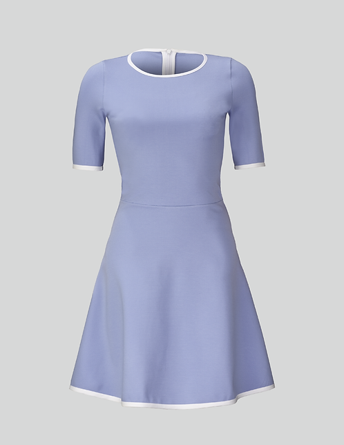 CLASSY A-SILHOUETTE DRESS IN BABYBLUE WITH WHITE COTTON PIPING