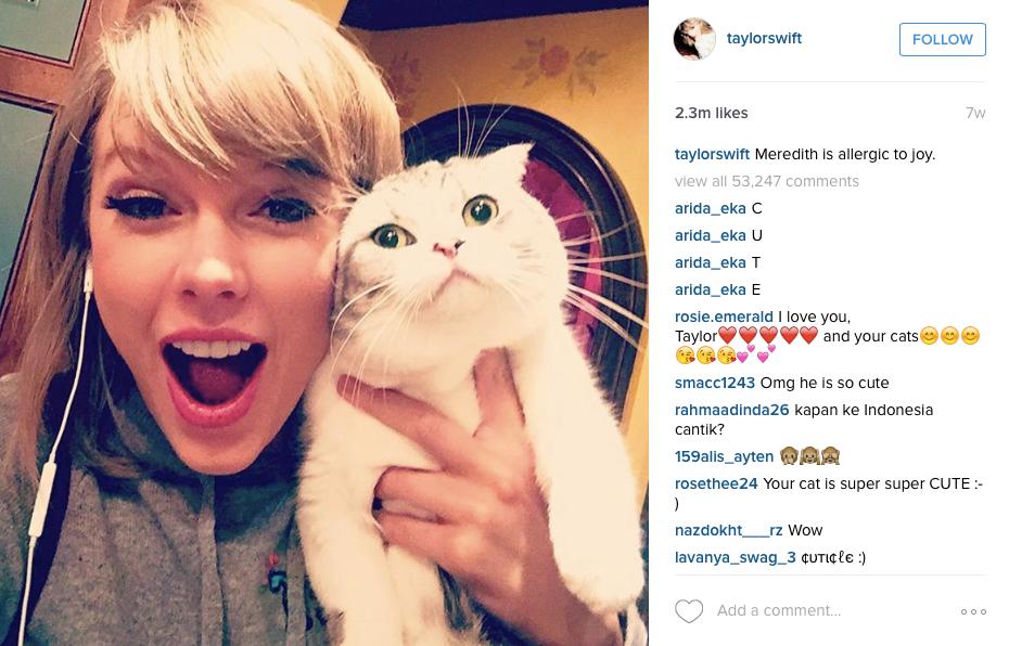 celebrity on social media taylor swift