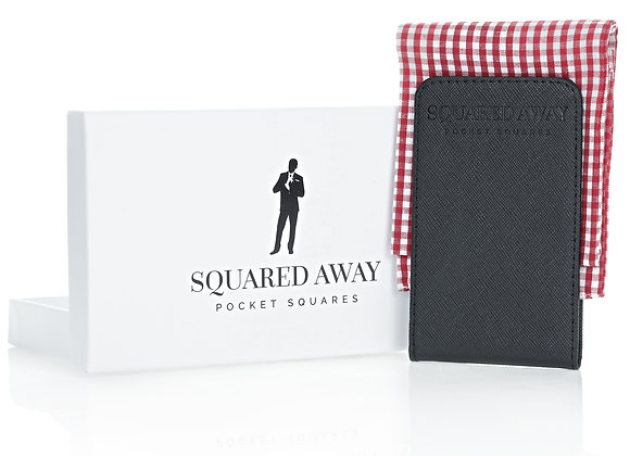 Red & White Pocket Square Sleeve with Magnetic Holder