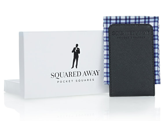 Blue Checked Pocket Square Sleeve with Magnetic Holder