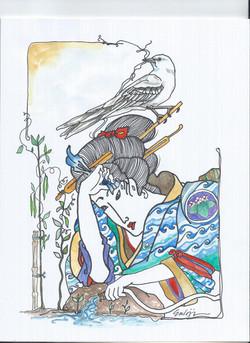 NANCY ENKOJI Garden Work Watercolor