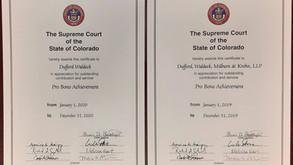 Pro Bono Awards from Supreme Court of Colorado