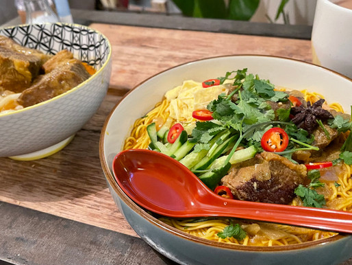 Slow cooked beef short rib curried soup noodles