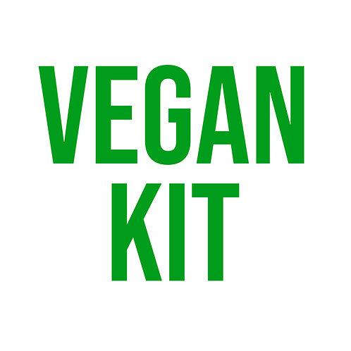 Vegan ingredients kit with 4 recipe cards