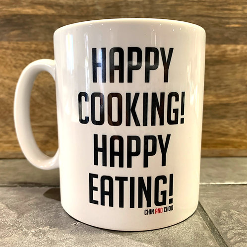 Happy Cooking, Happy Eating White Mug