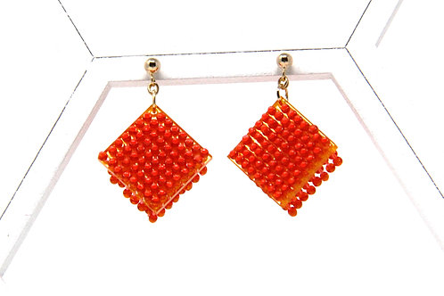 Cube Earrings (China Red)