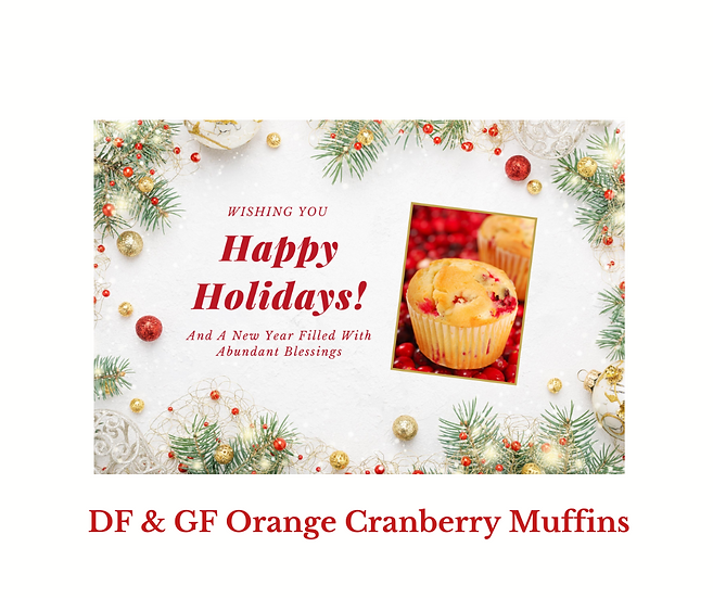DF & GF Orange Cranberry Muffin Recipe Postcard
