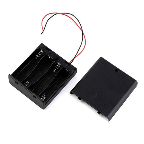 4xAA Battery Holder Box (On-Off Switch, Cover)