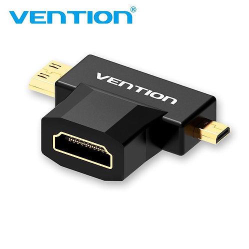 Mini HDMI + Micro HDMI to HDMI Female Adapter