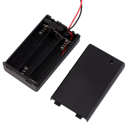 3xAAA Battery Holder Box (On-Off Switch, Cover)