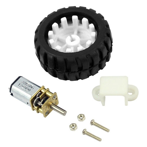 3PI Mini Q-Car Wheel Tyre + 12mm N20 Micro Gear Motor + Motor