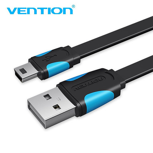 Flat USB 2.0 A Male to Mini 5 Pin Male Cable