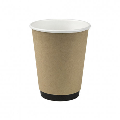 12oz/365mL Compostable Double Wall Coffee Cup Kraft  - Box 1000