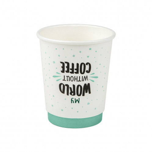 8oz/245mL Small Double Wall Coffee Cup Quotes - Box 1000
