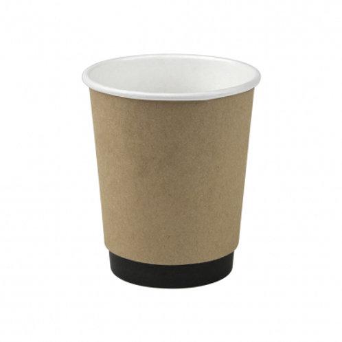 8oz/245mL Compostable Double Wall Coffee Cup Kraft - Box 1000