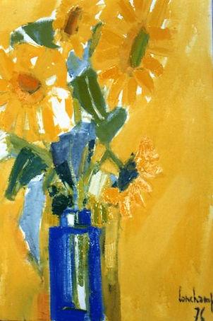 Peinture Pierre Lonchamp : Soleils fleurs vase bleu 1976