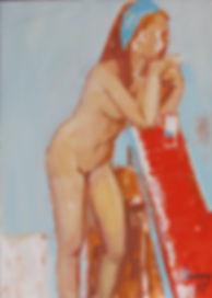 Peinture Pierre Lonchamp : Femme au bar 1977