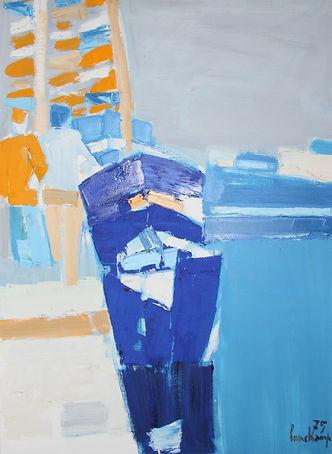 Peinture Pierre Lonchamp : Bateaux sur le quai à St Vaast La Hougue 1976