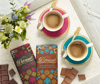 creative still life photography devine chocolate on a tray with coffee