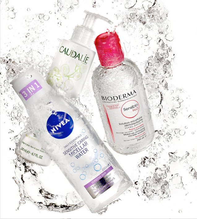 creative still life photography cosmetics in splashed water