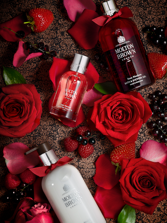 creative still life photography molton brown cosmetics with roses