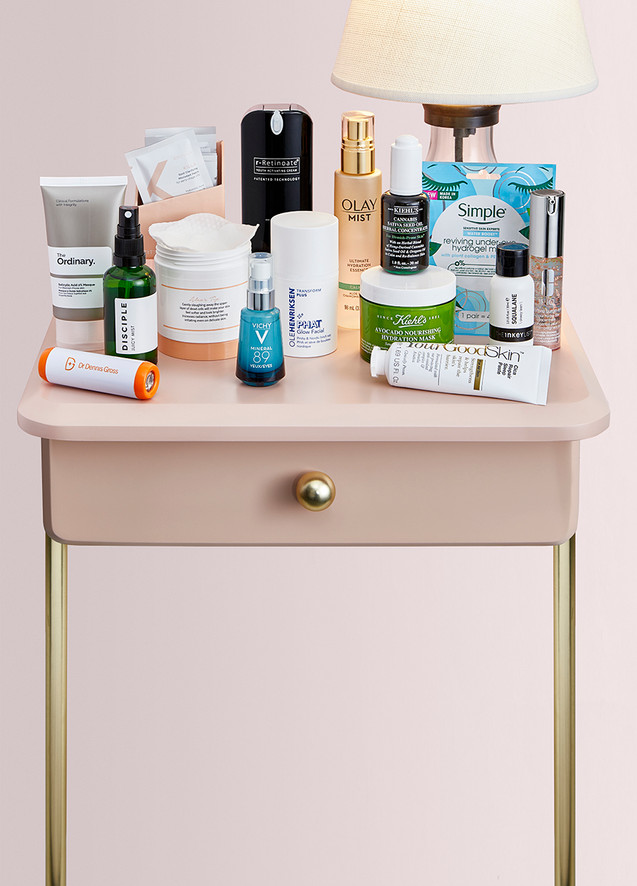 creative still life photography night table with cometics