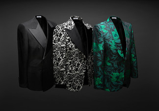 creative still life photography men's blazers on ghost mannequins