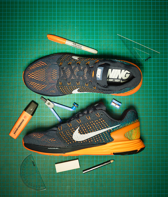 creative still life photography running nike shoes trainers