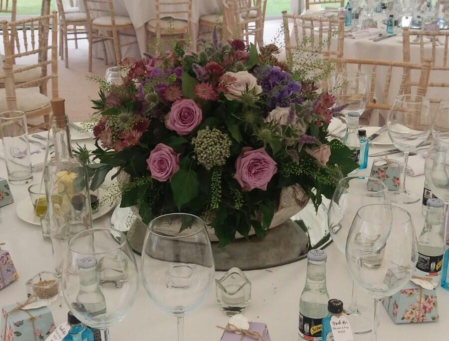 Floral wedding table centre design