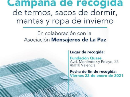 Campaña de recogida de termos, sacos de dormir, mantas y ropa de invierno en Valencia