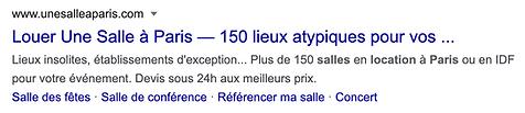 """résultat recherche Google """"location salle paris"""""""