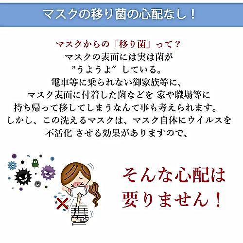 抗ウイルス機能繊維素材(クラボウ、クレンゼ)と広島大学イータックで除菌効果。50回洗濯可能な抗ウイルス素材で地球にやさしいエコなマスク。息苦しくない。臭くならない。洗って使えるウイルス対応マスク。
