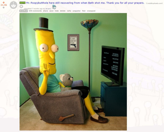 Front Page of Reddit with Mr. Poopybutthole