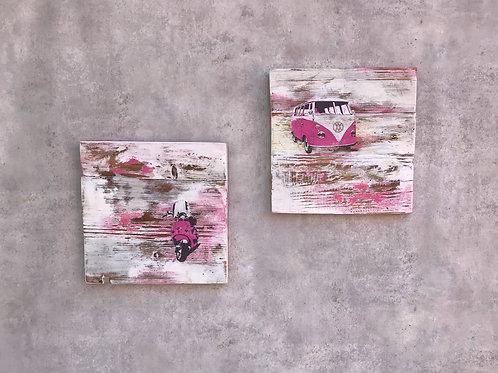 Boards, Scooter und Bulli Motiv, weiß pink