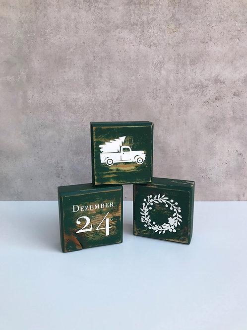 Blocks, Weihnachten mit 6 Motiven, dunkelgrün
