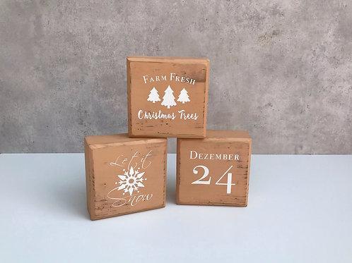 Blocks, Weihnachten mit 6 Motiven, tanned