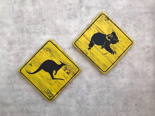 Boards, Australian Road Sign, Koala Känguru, gelb