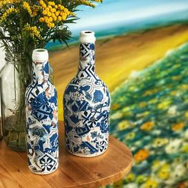 Deko Flaschen mit Fliesenoptik