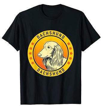 Dachshund-Longhaired-Portrait-Yellow-tsh