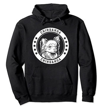 Chihuahua-Longhaired-Portrait-BW-Hoodie.