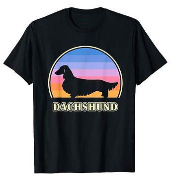 Vintage-Sunset-tshirt-Longhaired-Dachshu
