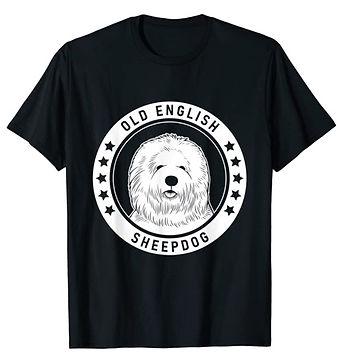 Old-English-Sheepdog-Portrait-BW-tshirt.