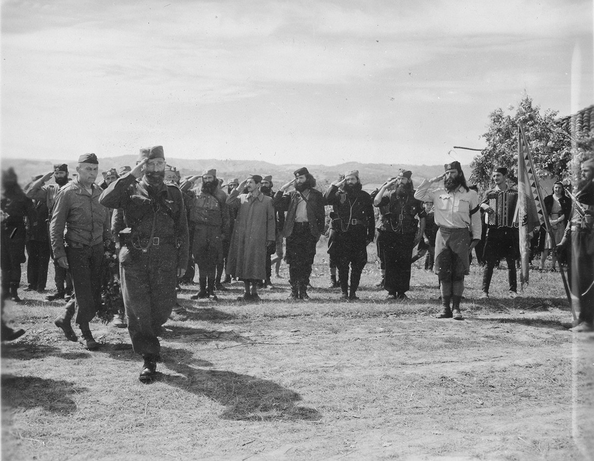 King's Birthday Ceremonies, 7. Sept. '44, Pranjani. Gen Draza Mihailovich inspects his troops.
