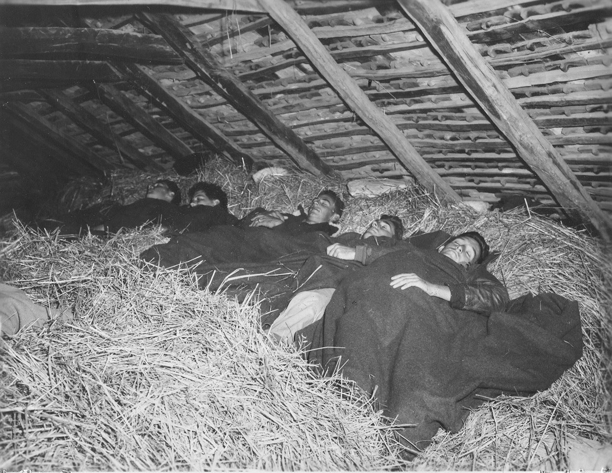 "American Airmen sleeping in Hay Lofts with ""insects"" for company. 13. Sept. '44"