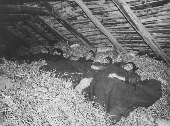 """American Airmen sleeping in Hay Lofts with """"insects"""" for company. 13. Sept. '44"""