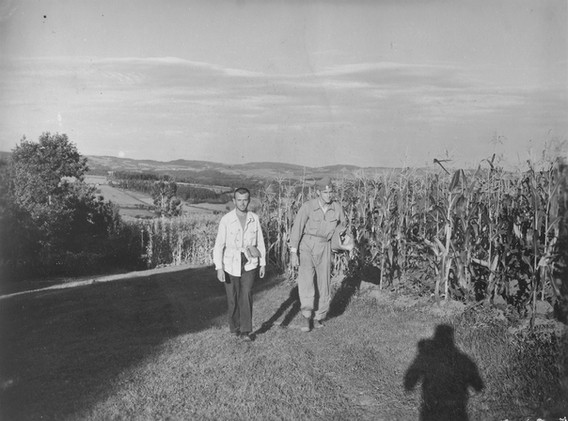 Arriving at collecting center is Lt. James D. Beckham (right) and Radmilo Vidojevic (left), Chetnik guide, 7. Sept. '44. Lt. Beckham from Russelvill, Kentucky, is a Mustang Pilot. Was on a straffing mission over Kraljevo. Downed by lack of oil pressure 15 miles from Kraljevo, belly landed in a corn field on 2. Sept. '44. Evacuated on 17. Sept. '44.