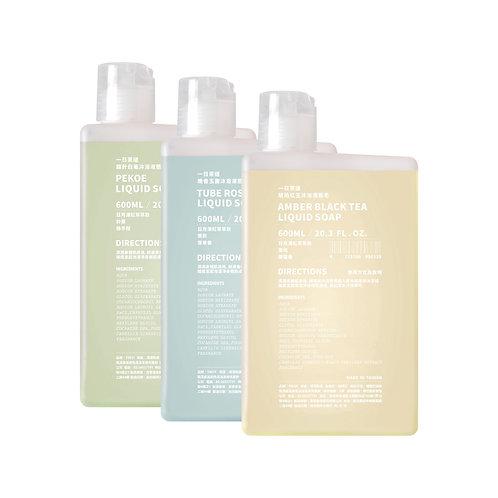 晚香玉露/ 琥珀紅玉/ 銀針白毫 沐浴液態皂 (家庭裝) 600ml